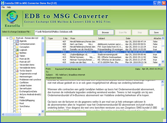 Click to view Convert EDB to MSG 3.0 screenshot