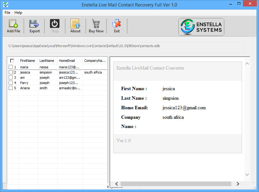 Enstella Live Mail Contacts Converter Tool