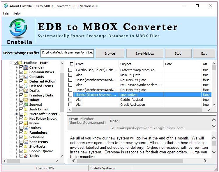 Enstella EDB to MBOX Converter Software