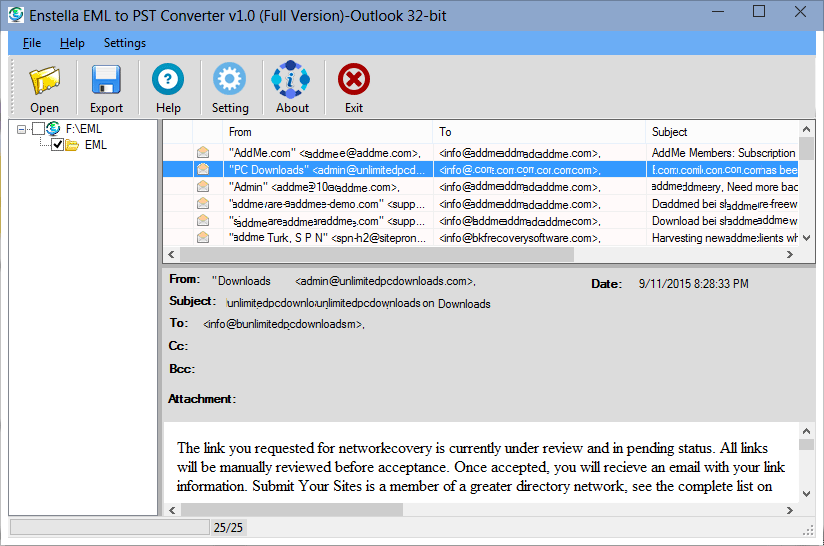 EML to PST Converter full screenshot