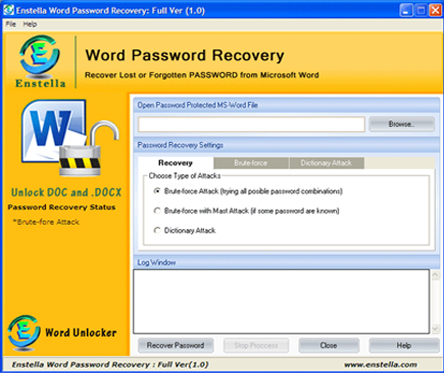 Word Password Recovery screen shot